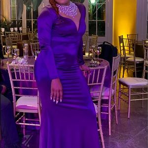 Purple Satin Formal Maxi Dress